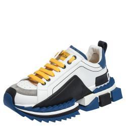 Dolce & Gabbana White/Blue Leather Super King Platform Sneakers Size 42