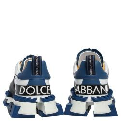 Dolce & Gabbana White/Blue Leather Super King Platform Sneakers Size 42