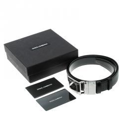 Dolce and Gabbana Black Textured Leather Logo Plaque Belt 90cm