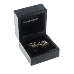Dolce and Gabbana Crystal Textured Two Tone Metal Round Cufflinks