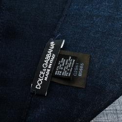 Dolce & Gabbana Navy Blue Crown Print Silk & Wool Scarf