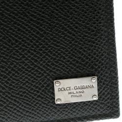 Dolce and Gabbana Dark Green Leather Money Clip Bifold Card Holder