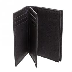 محفظة بطاقات دولتشي أند غابانا جلد رصاصي داكن ثنائية الطي