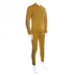Dolce and Gabbana Mustard Yellow Cotton Knit Contrast Stripe Tracksuit S