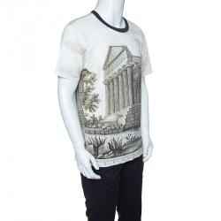 Dolce and Gabbana Beige Parthenon Temple Print Short Sleeve T-Shirt M