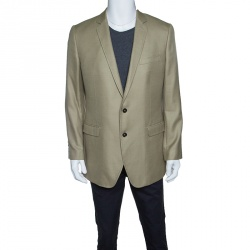 5ca4f41d42 Dolce and Gabbana Martini Khaki Green Cashmere and Silk Two Button Blazer  XXL
