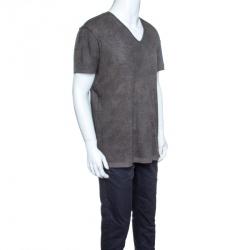 Dolce and Gabbana Khaki Green Overdyed Reverse Seam T-Shirt XXL