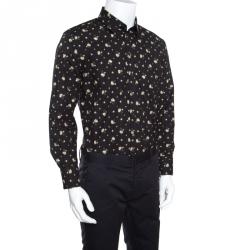 5baa96f9 Dolce and Gabbana Sicilia Black Floral Printed Cotton Long Sleeve Shirt XL