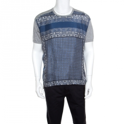 3bce4552c3 Dolce and Gabbana Grey and Blue Paisley Printed Silk Detail T- Shirt L