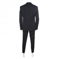 Dolce and Gabbana Black Floral Jacquard Sicilia Suit 2XL