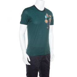 Dolce and Gabbana Green Medal Printed Cotton Short Sleeve T-Shirt M