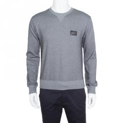 Dolce And Gabbana Monochrome Jacquard Cotton Knit Ribbed Trim Sweater XS