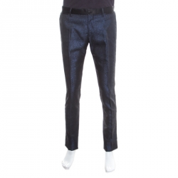 a67275e98569 Dolce and Gabbana Navy Blue Metallic Jacquard Satin Trim Trousers M