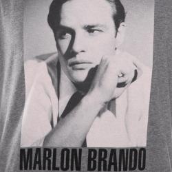 Dolce and Gabbana Grey Melange Marlon Brando Printed Crew Neck T-Shirt XL