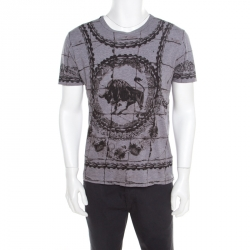 b467c549 Dolce and Gabbana Grey Cotton Jersey Bull Print T-Shirt L