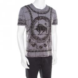 1f42cfcc Dolce and Gabbana Grey Cotton Jersey Bull Print T-Shirt L