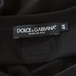 Dolce and Gabbana Black Cotton Stretch Knit V Neck T -Shirt XS