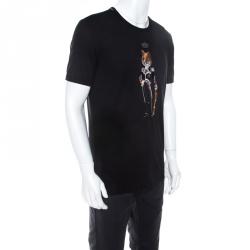 Dolce & Gabbana Black Cotton Jersey Royal Pet Portrait T-Shirt M