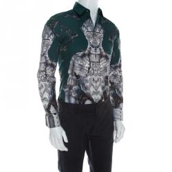 Dolce & Gabbana Green Sentry Print Cotton Long Sleeve Shirt S