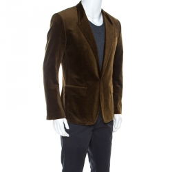 Dolce and Gabbana Brown Velvet Tailored Blazer M