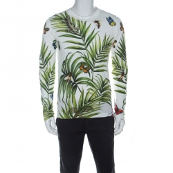 Dolce & Gabbana Tropical Print Cotton Long Sleeve T-Shirt S