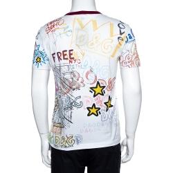Dolce & Gabbana White Cotton Jersey Graffiti Print T-Shirt M
