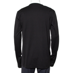Dolce & Gabbana Black Cotton Long Sleeve Crewneck T-Shirt XXL