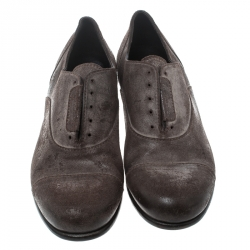 Dolce & Gabbana Brown Antique Finish Suede Laceless Oxfords Size 40