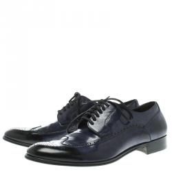 Dolce and Gabbana Two Tone Brogue Leather Derby Oxford Shoes Size 42.5