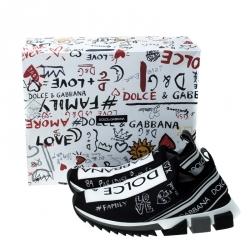 Dolce & Gabbana Black/White Stretch Mesh Sorrento Slip On Sneakers Size 43