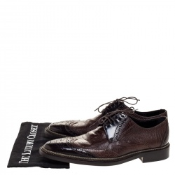 Dolce & Gabbana Brown Ostrich Leather Brogues Lace Up Derby Size 41.5