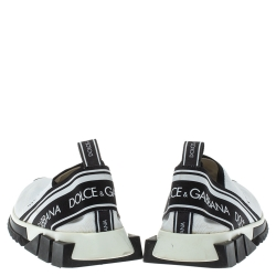 Dolce & Gabbana White/Black Stretch Fabric Logo Sorrento Slip On Sneakers Size 40.5
