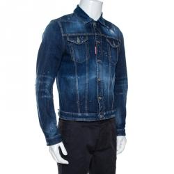 Dsquared2 Indigo Graphic Print Appliqued Classic Jean Jacket M