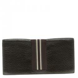 f16929630e0c Dunhill Dark Brown Leather Stripe Long Wallet