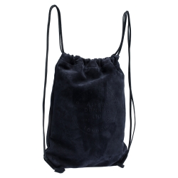 Dunhill Midnight Blue Suede Chiltern Drawstring Backpack