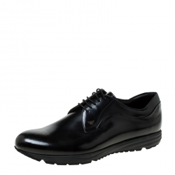 Emporio Armani Black Leather Lace-Up Derby Oxford Size 45