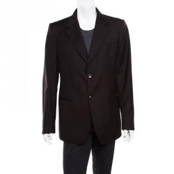 8a068a23f1750 Emporio Armani Brown Pinstriped Wool Josh Line Tailored Blazer 3XL
