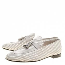 Ermenegildo Zegna Two Tone Woven Leather Tassel Detail Loafers Size 42.5