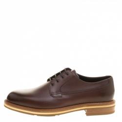Ermenegildo Zegna Brown Leather Lace Up Derby Size 42
