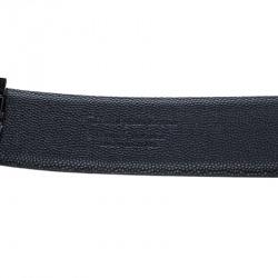 Ermenegildo Zegna Navy Blue Leather Belt 90 CM