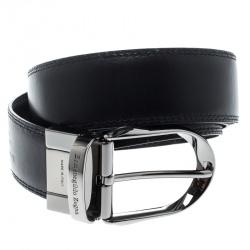 Ermenegildo Zegna Black Leather Belt 90cm
