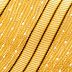 Ermenegildo Zegna Mustard Diagonal Striped and Dotted Silk Jacquard Tie