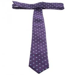 Ermenegildo Zegna Purple and Navy Blue Patterned Silk Jacquard Tie