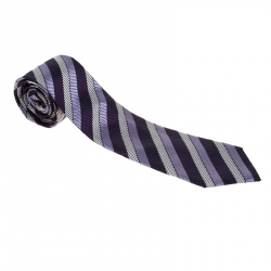 eb4f7f56b Ermenegildo Zegna Premium Purple Diagonal Striped Silk Jacquard Tie
