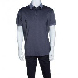Ermenegildo Zegna Navy Blue and White Honeycomb Knit Short Sleeve Polo T-Shirt L
