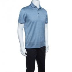 9fbdca27d Ermenegildo Zegna Navy Blue and White Cotton Knit Short Sleeve Polo T-Shirt  S