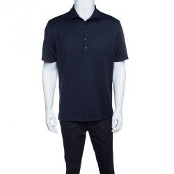 Ermenegildo Zegna Cool Effect Navy Blue Knit Polo T-Shirt L