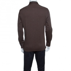 Ermenegildo Zegna Brown Cotton Knit Long Sleeve Polo Shirt M