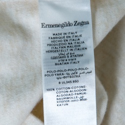 Ermenegildo Zegna Cream Melange Jersey Long Sleeve Polo T-Shirt M