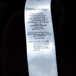Ermenegildo Zegna Black Cotton Jersey Suede Trim Long Sleeve Polo T-Shirt M